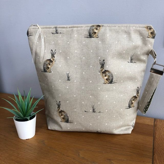 Hartley Hare large zipped bag with wristlet.