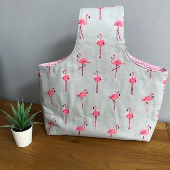 Over the arm knitting/crochet bag - Sophie Allport pink flamingos