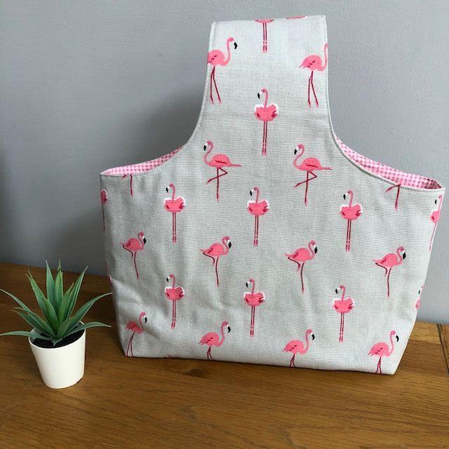 Over the arm knitting/crochet bag - Sophie Allport pink flamingos