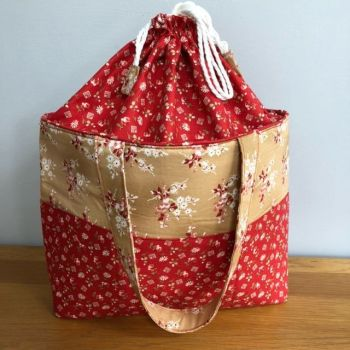 Luxury Red Draw String Craft Bag for your Knitting, Sewing, Crochet Craft Projects