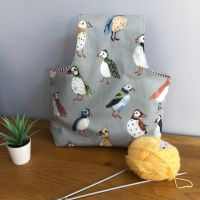 Over the arm knitting/crochet bag - Puffins