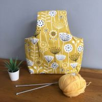 Over the Arm Knitting/Crochet Bag - Yellow Scandi Design