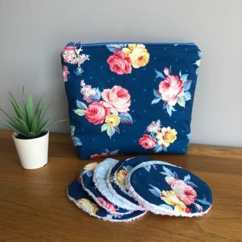 Blue Local Blooms Cosmetic, Make Up, Toiletry, Zipped Bag & Washable Face Wipes