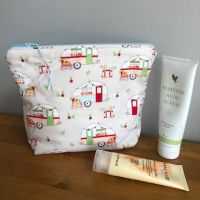 Cosmetic bag  caravans - Cath Kidston lining and blue zip