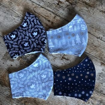 Christmas Face Masks - Navy & Grey - Free Delivery