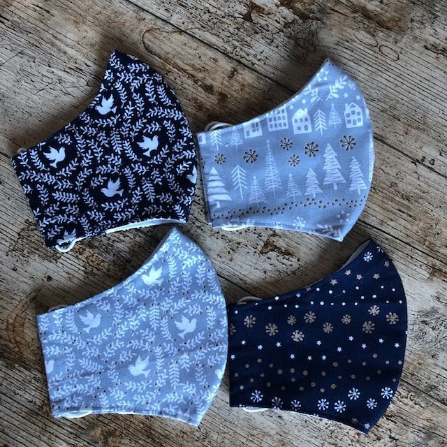 Christmas Face Masks - Navy & Grey - Free Postage