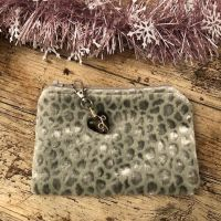 Coin, Card or Jewellery Purse - Silver Grey Velvet Textured Fabric