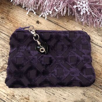 Coin, Card or Jewellery Purse - Purple Grey Velvet Textured Fabric
