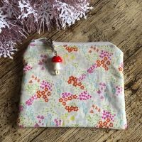 Coin Cards or Jewellery Purse - Soft cotton fabric Flowers and Toadstools