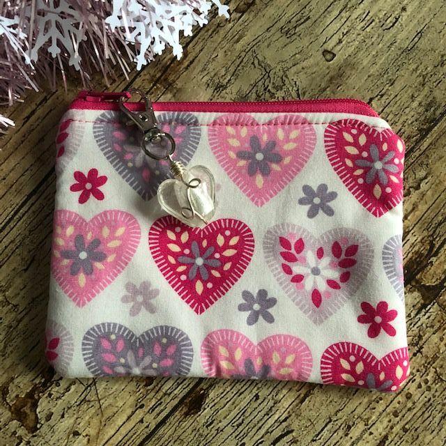 Soft cotton zipped purse  - Pink & Grey Hearts