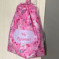 Personalised Pyjama Case / Drawstring Bag, Embroidered Label - Fully Lined - Choice of fabrics.