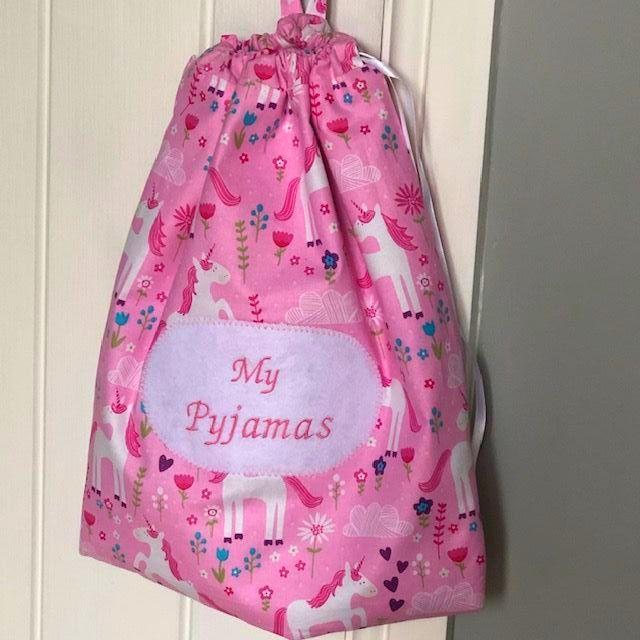 Pyjama Case - Pink Unicorn - fully lined.