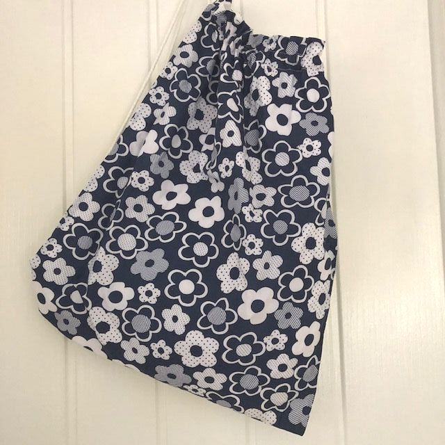 Navy and White Floral Drawstring Bag - Cotton Fabric White Lining