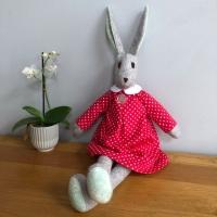 Luna Lapin style Rosie Rabbit - Handmade in Felt and Tilda Fabric - Red Dress - Heirloom Gift