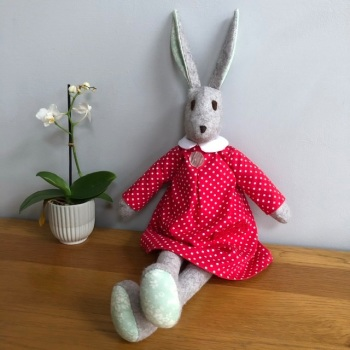 Rosie Rabbit - Handmade in Felt and Tilda Fabric - Red Dress - Heirloom Gift