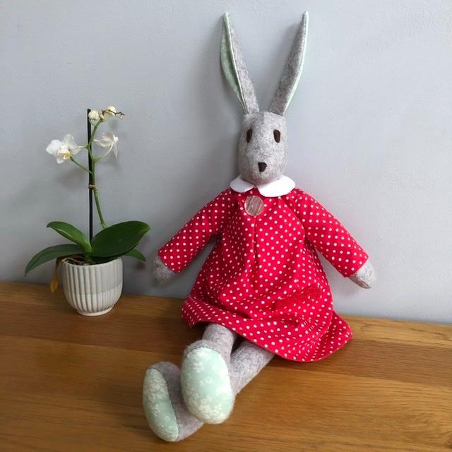 Rosie Rabbit - Handmade in Felt and Tilda Fabric - Red Dress - Heirloom Gif