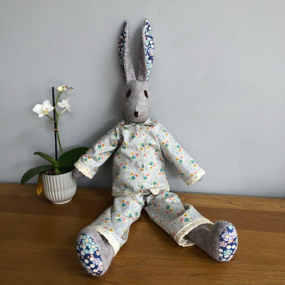 Ruby Rabbit - Handmade in Felt and Tilda fabric pyjamas - Heirloom gift