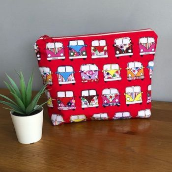 Campervan Motorhome Zipped Bag - Red and White Spotty Lining