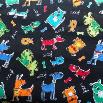 Novelty Dog Fabric - Woof