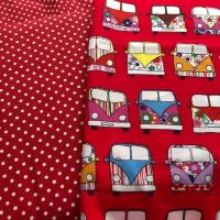 Red Camper van and red polka dot combo