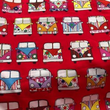 Red Campervan fabric