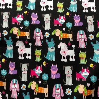 Dog print fabric DR12491. Cute novelty design