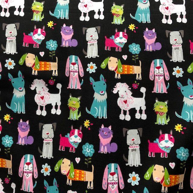 Dog print fabric DR12491. Cute novelty design