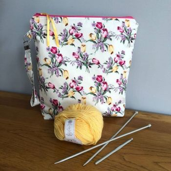 Spring Tulips - large craft or storage bag with wristlet