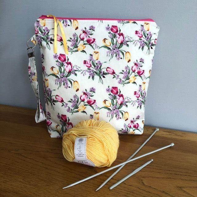 Spring Tulips - large craft or storage bag with wristlet