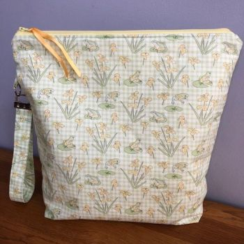 Gingham frogs large zipped versatile bag with wristlet, Ideal Mother's Day Gift