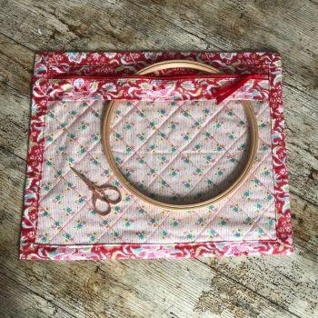 Vinyl Front Project Bag  - Tilda Circus, Clown Flower Rose & Apple Butter Nancy Fabric
