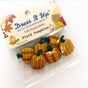 Plaid Pumpkins ~ Dress it Up Buttons