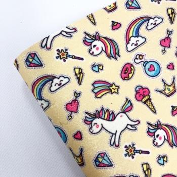 Unicorns and Rainbows on Lemon ~ Fine Glitter
