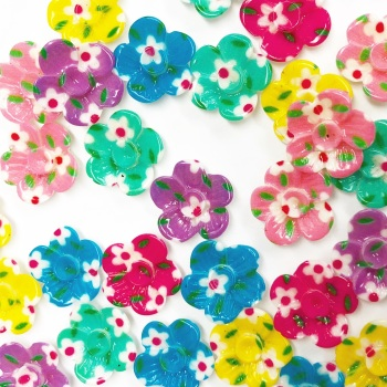 Mini Floral Print Flowers ~ Embellishments