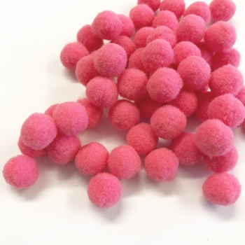 Mini Pom Poms ~ Coral ~ Pack of 5