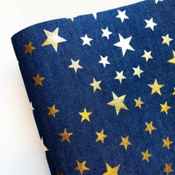 Silver Stars Denim Fabric Felt