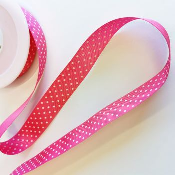 Ribbon Grosgrain - Hot Pink Polka