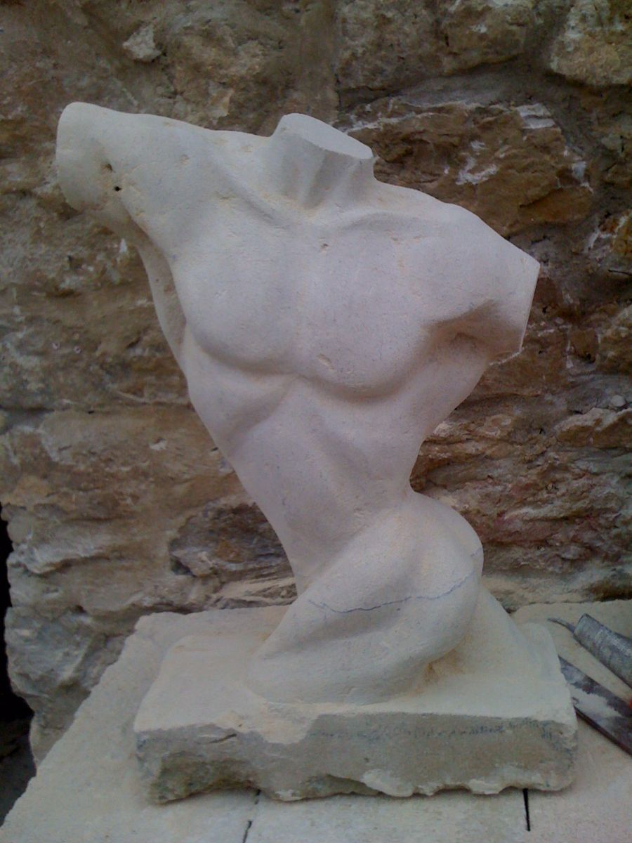 Torso male stone finished front