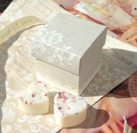 <!-- 014-->(10 off) Pearl Grey Shabby Chic Favour Box