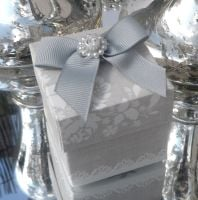 <!-- 011-->(10 off) Pearl Grey Shabby Chic Favour Box