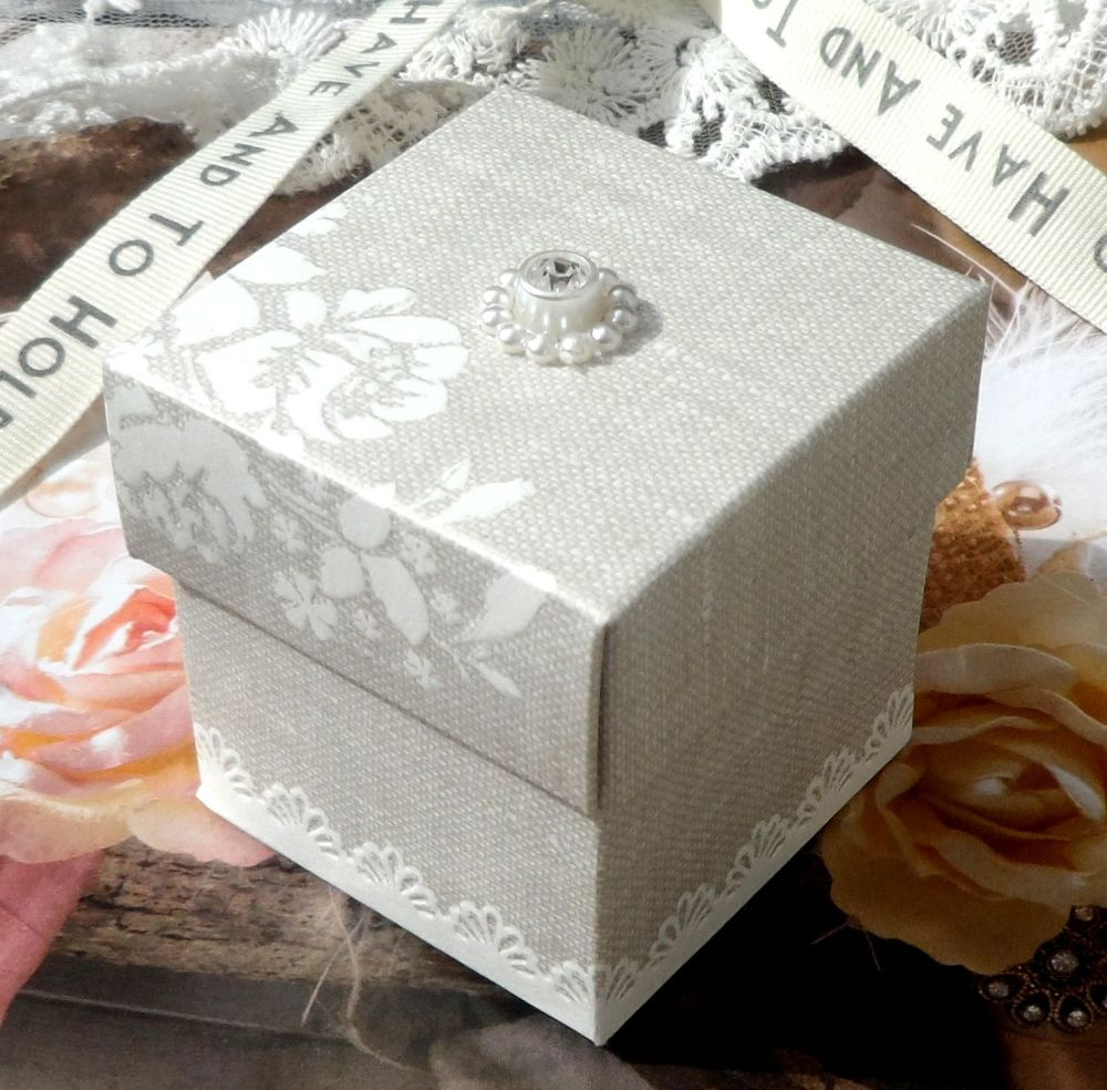 <!-- 013-->(10 off) Pearl Grey Shabby Chic Favour Box