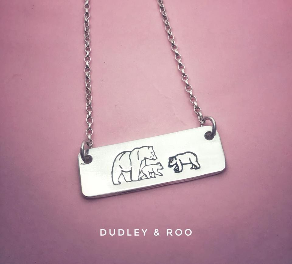 Sterling Silver Mama Bear & Cubs Necklace