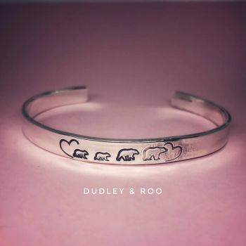 Sterling Silver Bear Family Cuff
