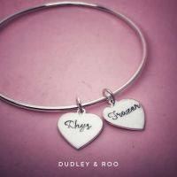 Silver Personalised Heart Charm Bangle