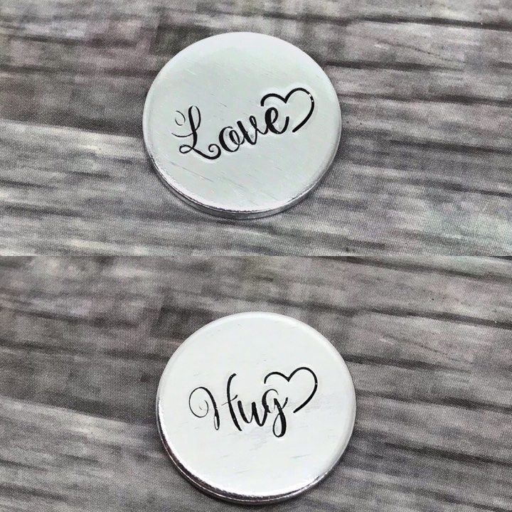 Love/Hug/Luck Tokens - Cursive Font