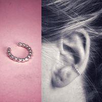 Silver Ear Cuff | Beaded