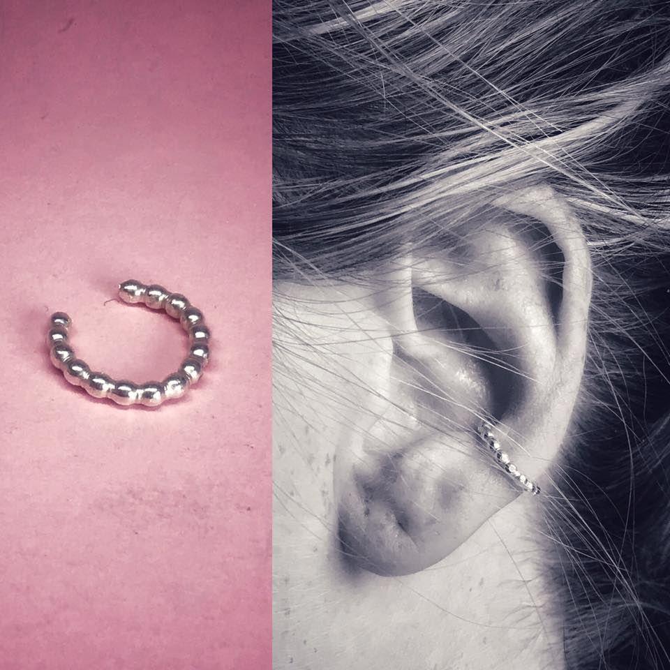 Silver Beaded Ear Cuff