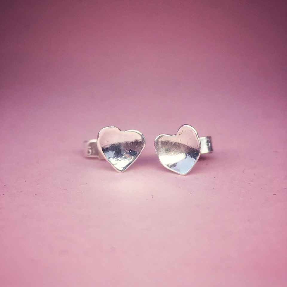Tiny Silver Heart Studs