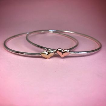 Sterling Silver Signature Single Heart Bangle