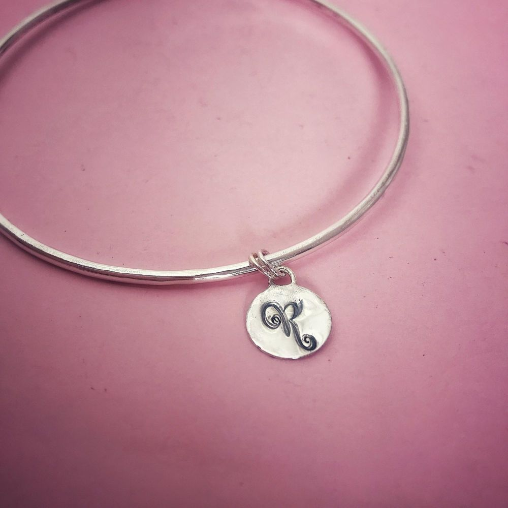 Silver Initial Charm Bangle